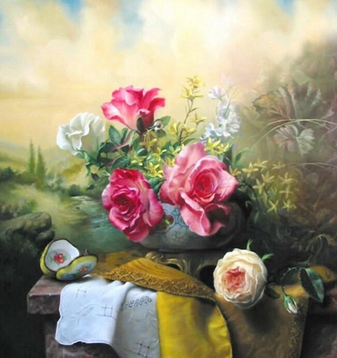 pieter wagemans 超写实油画花卉作品欣赏高清图片