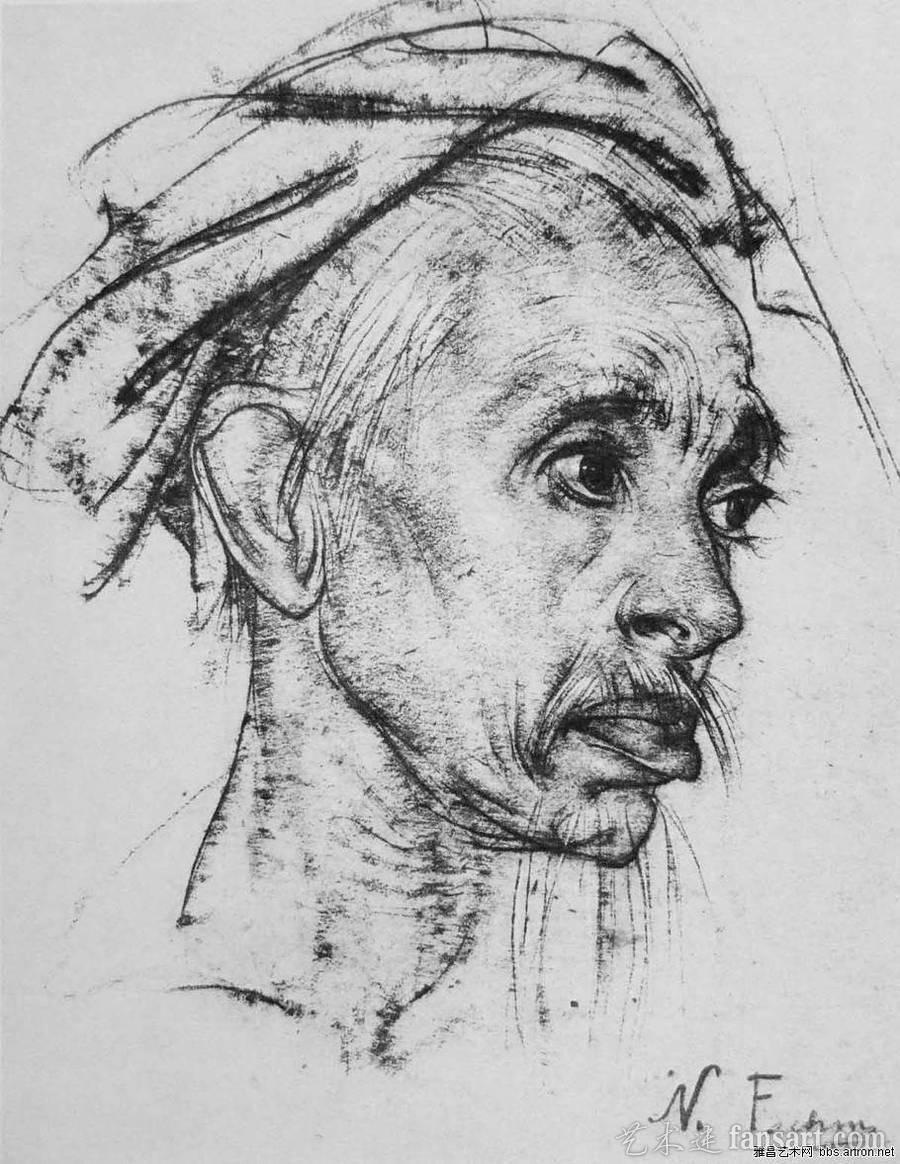 大师素描尼古拉 费申人物头像素描欣赏